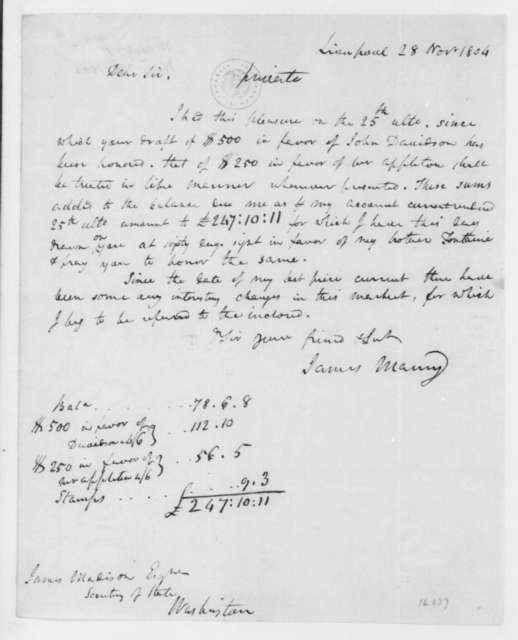 James Maury to James Madison, November 28, 1804.