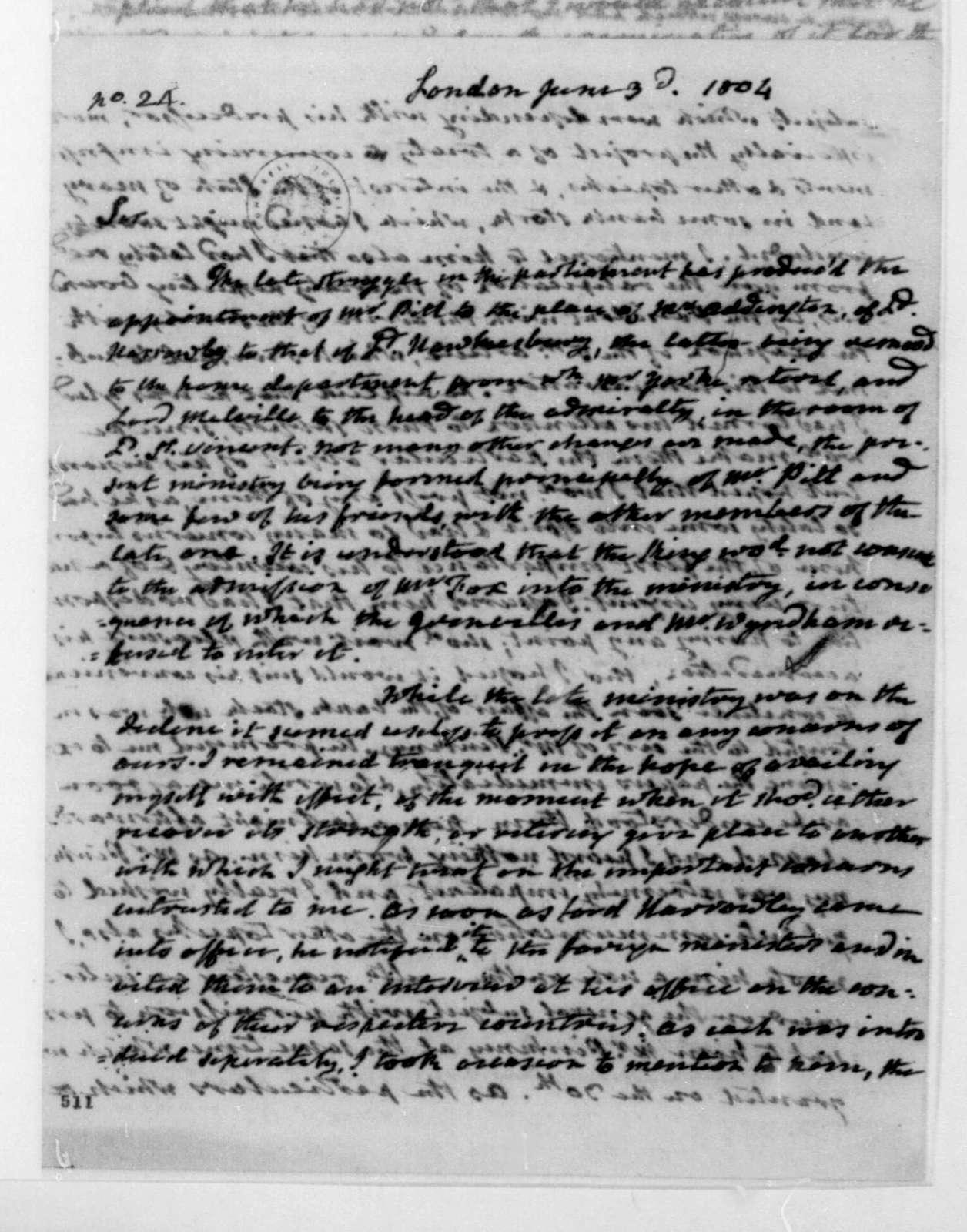 James Monroe to James Madison, June 3, 1804.