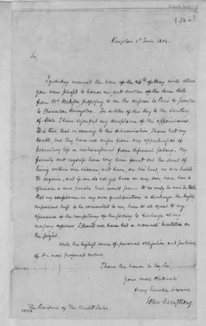 John Armstrong to Thomas Jefferson, June 2, 1804