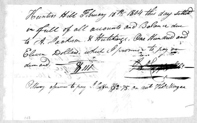 John Coffee to Jackson & Hutchings, February 10, 1804