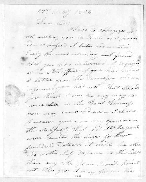 John Gordon to Andrew Jackson, February 22, 1804