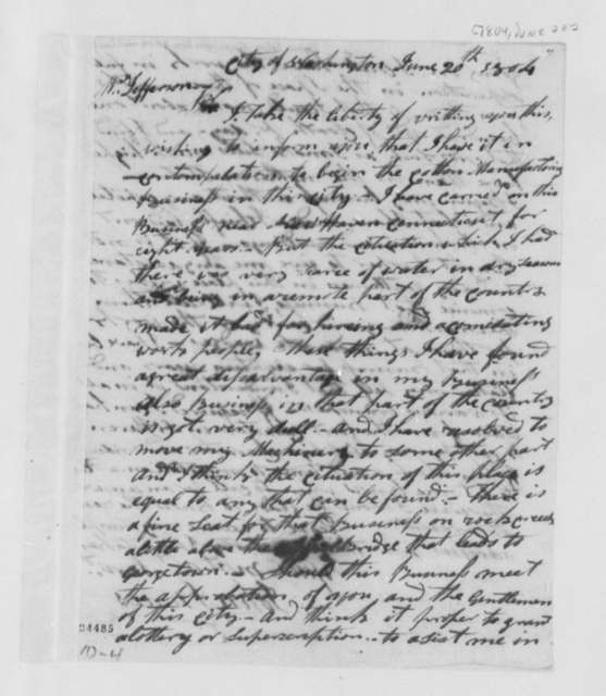 John Innes to Thomas Jefferson, June 20, 1804