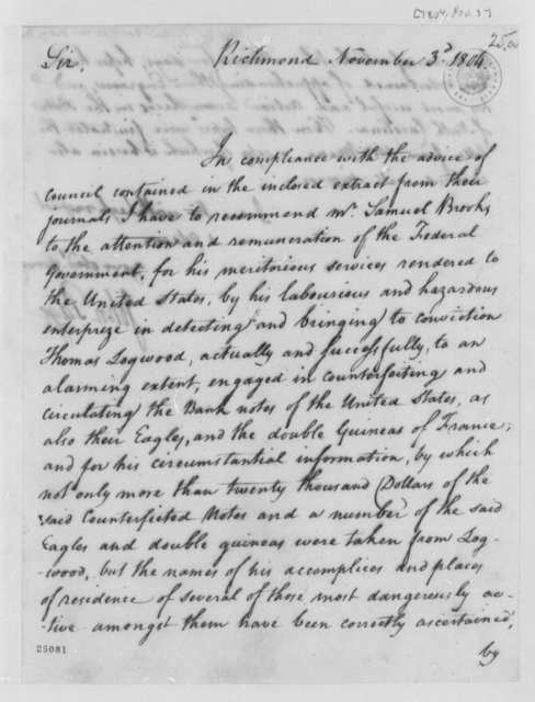 John Page to Thomas Jefferson, November 3, 1804