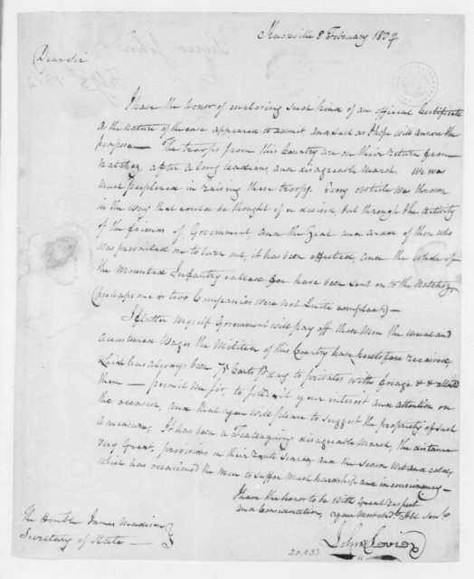 John Sevier to James Madison, February 8, 1804.