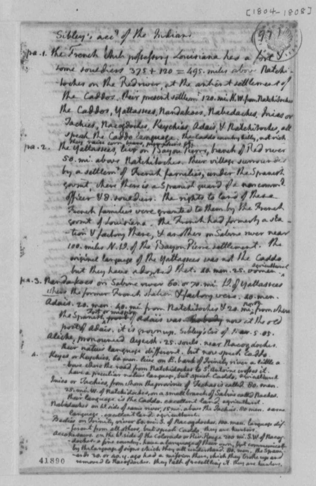 John Sibley, 1804, Account of Indians