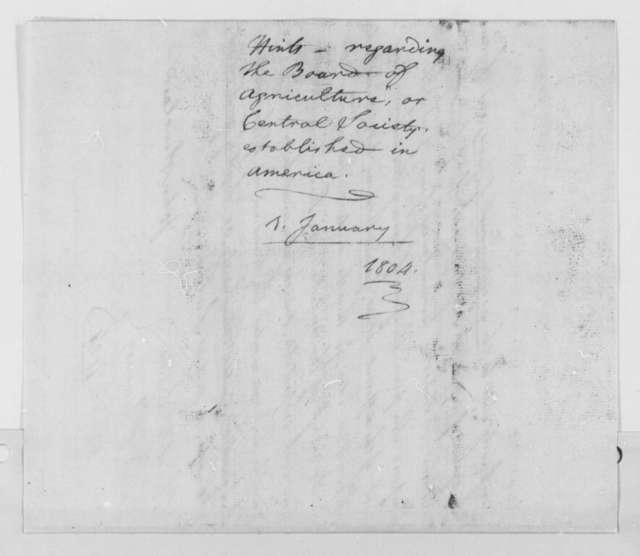 John Sinclair to Thomas Jefferson, January 1, 1804, Extract and Copy