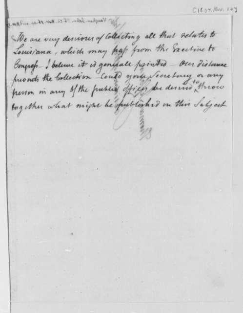 John Vaughan to Thomas Jefferson, November 16, 1804, with Jefferson's Note