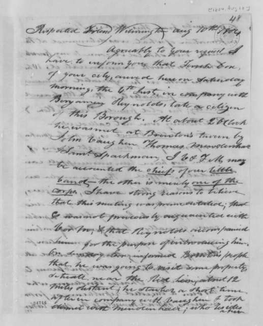 John Warner to Thomas Leiper, August 10, 1804