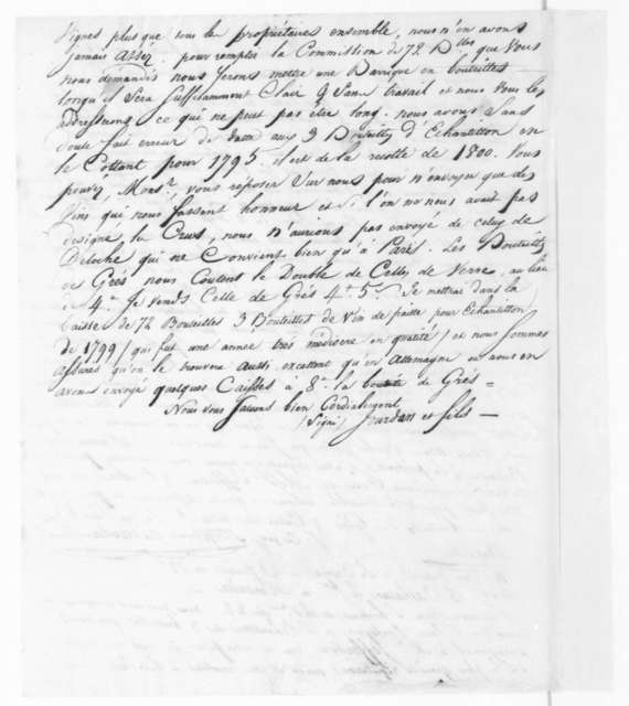 Jourdan & Sons to Stephen Cathalan Jr, September 14, 1804. In French.