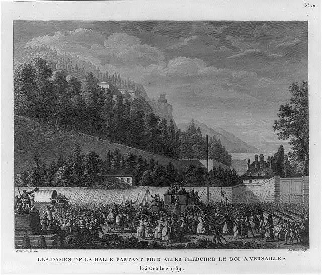 Les dames de la Halle partant pour aller chercher le Roi a Versailles, le 5 Octobre 1789 / Prieur inv. & del. ; Berthault sculp.