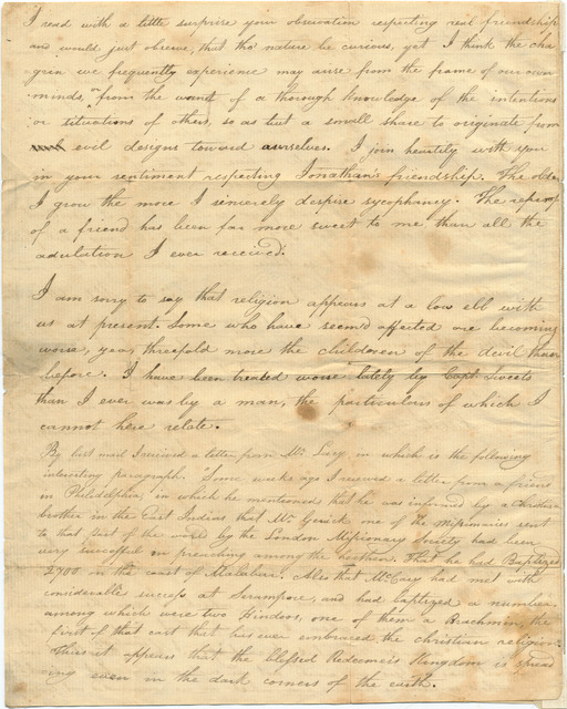 Letter from Joshua Lacy Wilson to Archibald Cameron