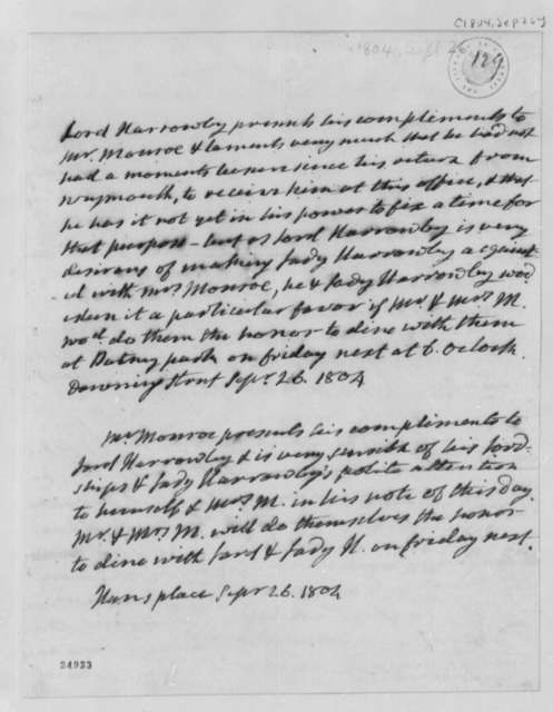 Lord Harrowby to James Monroe, September 26, 1804