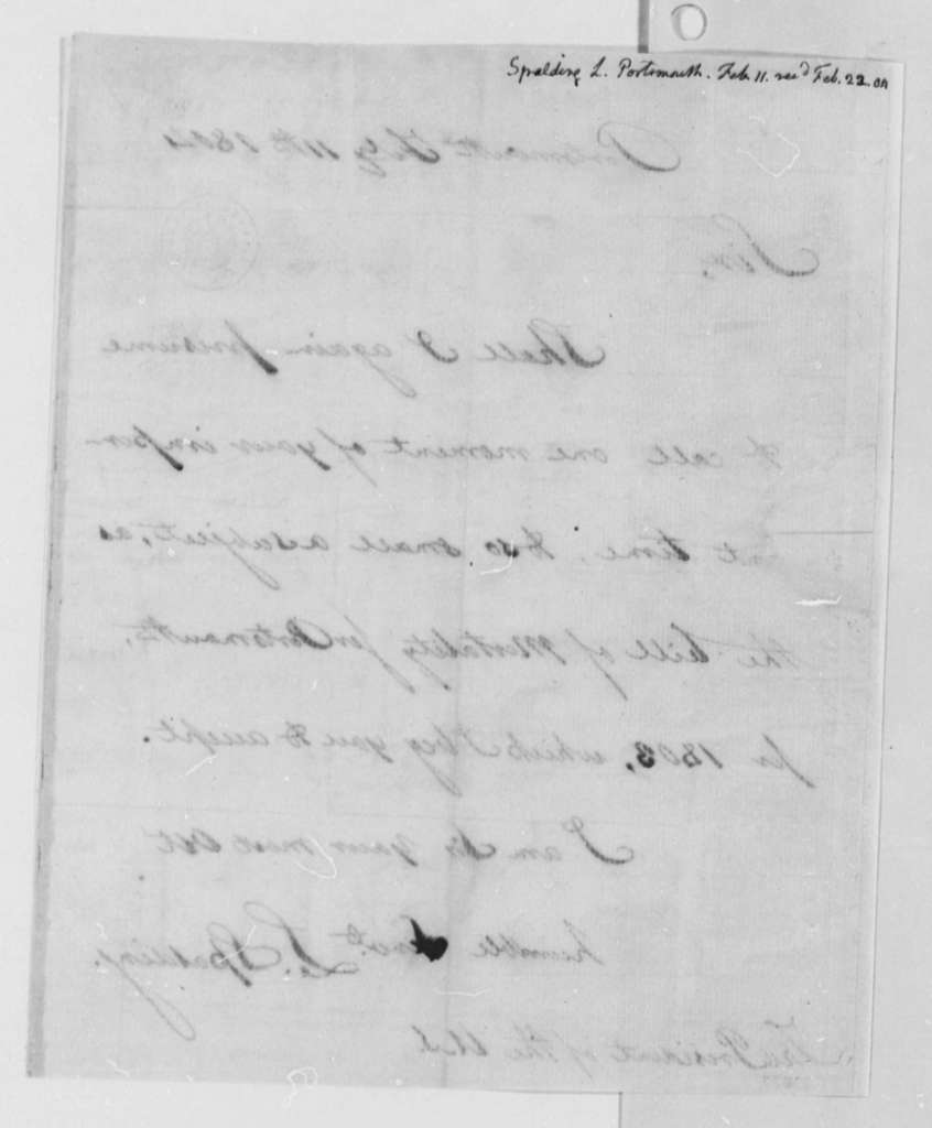 Lyman Spalding to Thomas Jefferson, February 11, 1804, with Printed Broadsides, 1803 Bill of Mortality for Portsmouth, New Hampshire