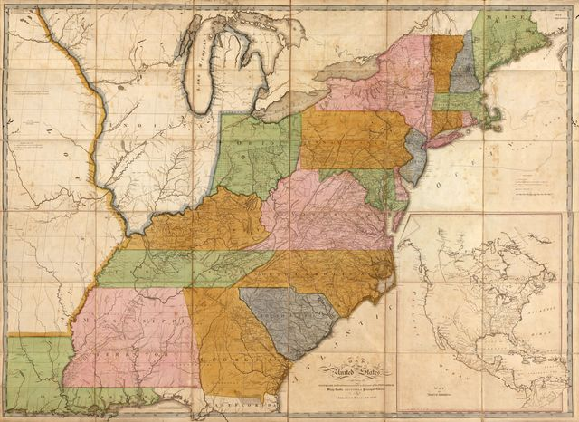 Map of the United States : exhibiting the post-roads, the situations, connexions & distances of the post-offices, stage roads, counties & principal rivers /