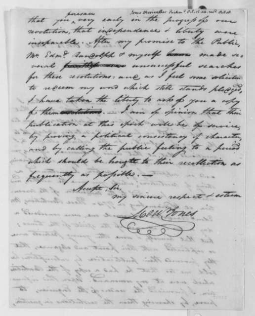 Meriwether Jones to Thomas Jefferson, October 15, 1804