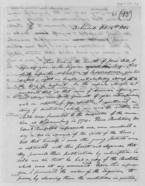 Meriwether Jones to Thomas Jefferson, October 15, 1804