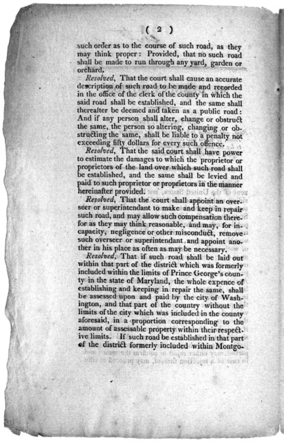 Mr. Dennis's motion. 7th February, 1804. Read, and ordered to be referred to the committee of the whole House, to whom was committed, on the 25th ultimo, the bill to lay out and open a new public road in the county of Washington, in the district