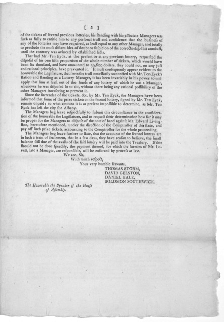 New York- 4th Nov. 1804. Sir. It is with sensations extremely painful, that the managers appointed to conduct the several lotteries under the Act for the encouragement of literature, are compelled to communicate to you, Sir, for the information