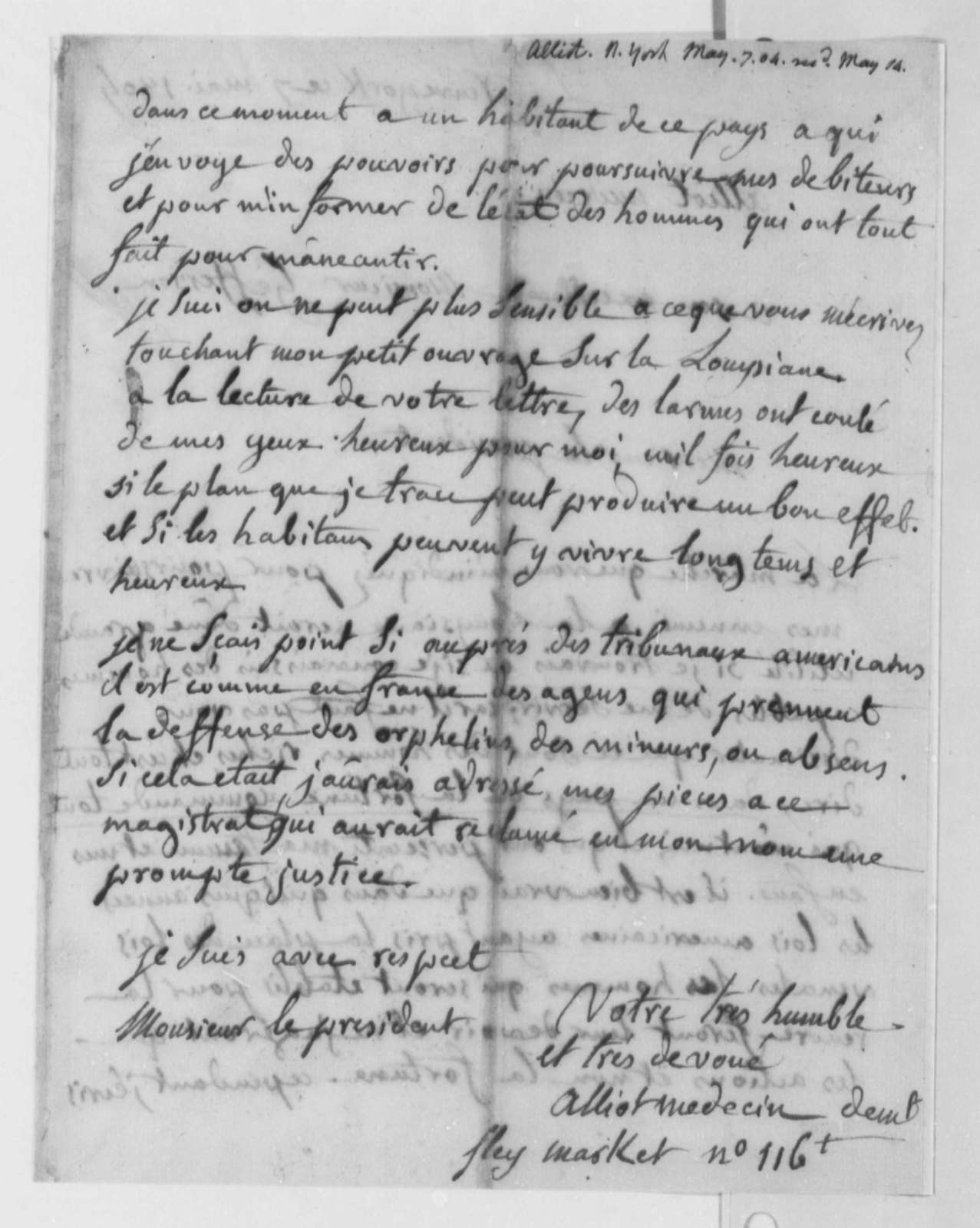Paul Alliot to Thomas Jefferson, May 7, 1804, in French