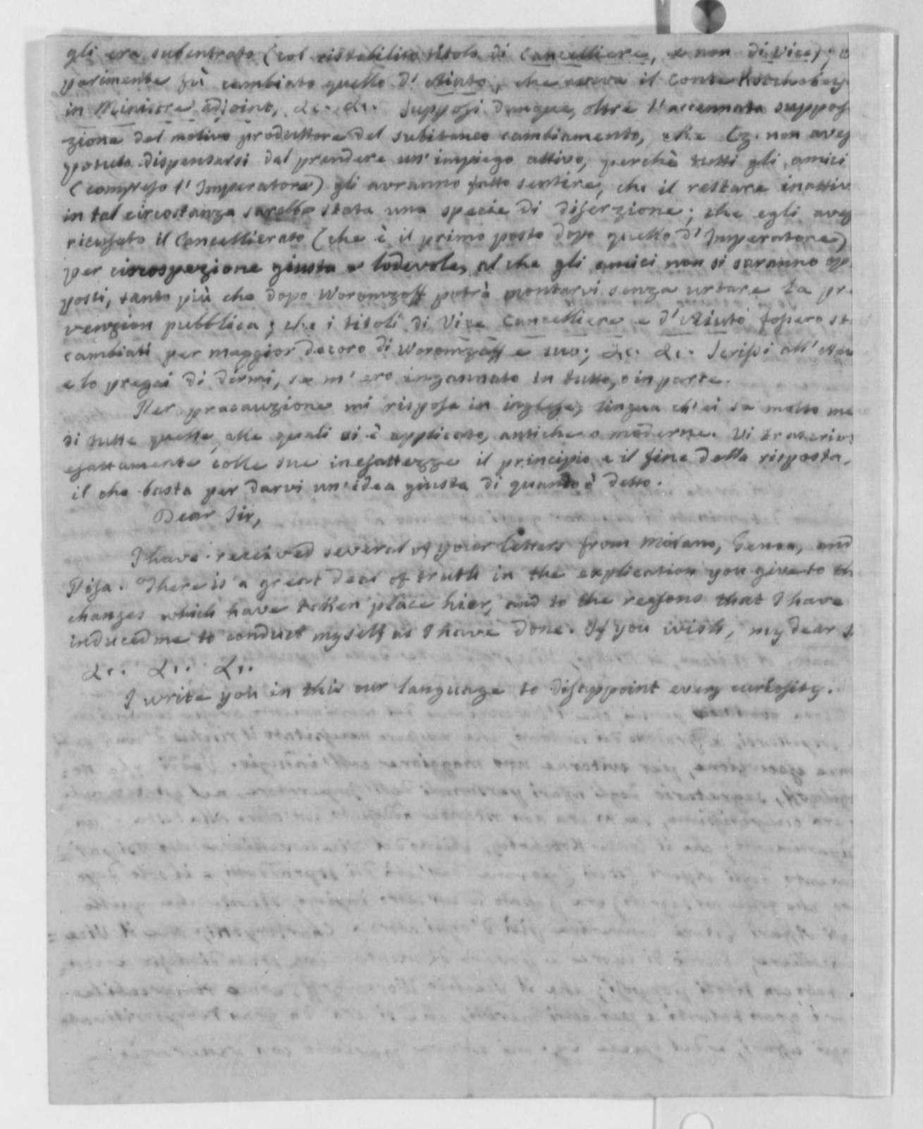 Philip Mazzei to James Madison, 1804, in Italian