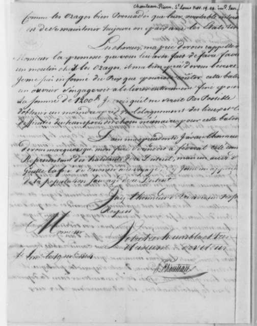Pierre Chouteau to Thomas Jefferson, November 19, 1804, in French, with List