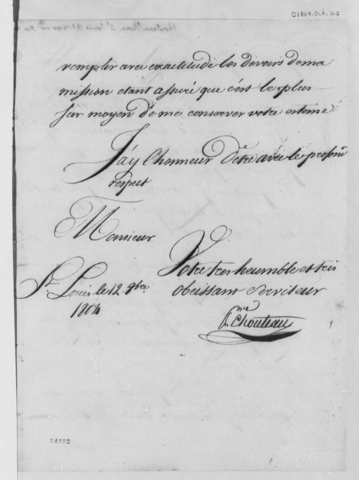 Pierre Chouteau to Thomas Jefferson, October 12, 1804, in French