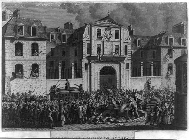 Pillage de la Maison de St. Lazare, le lundi 13 Juillet 1789 / [Prieur inv. & del. ; Berthault sculp.]