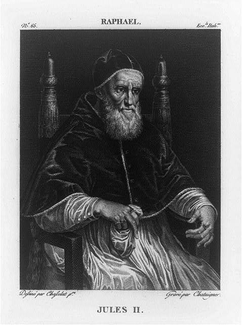 [Pope Jules II, three-quarter length portrait, seated, facing right]