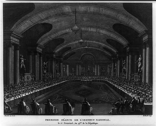 Premiere séance de l'institut National ; le 15 Germinal, An 4eme de la République / Girardet inv. & del. ; Berthault sculp.