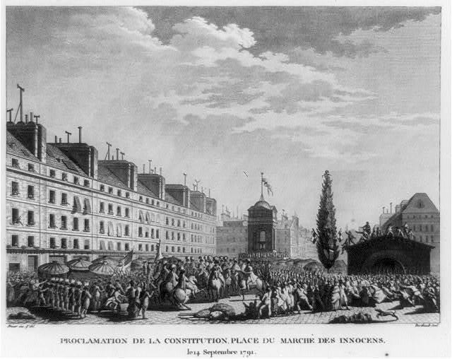 Proclamation de la Constitution, place du Marché des Innocens, le 14 septembre 1791 / Prieur inv. & del. ; Berthault scul.