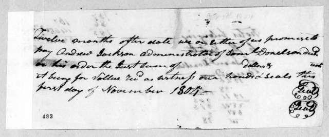 Samuel Donelson to Andrew Jackson, November 1, 1804