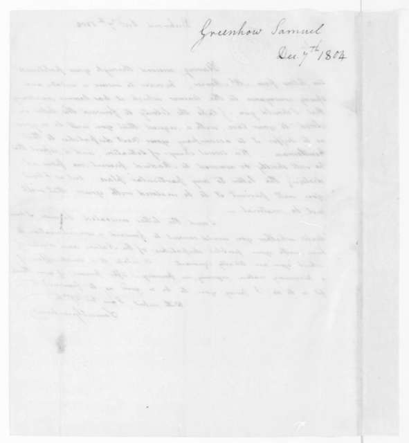 Samuel Greenhow to James Madison, December 7, 1804.