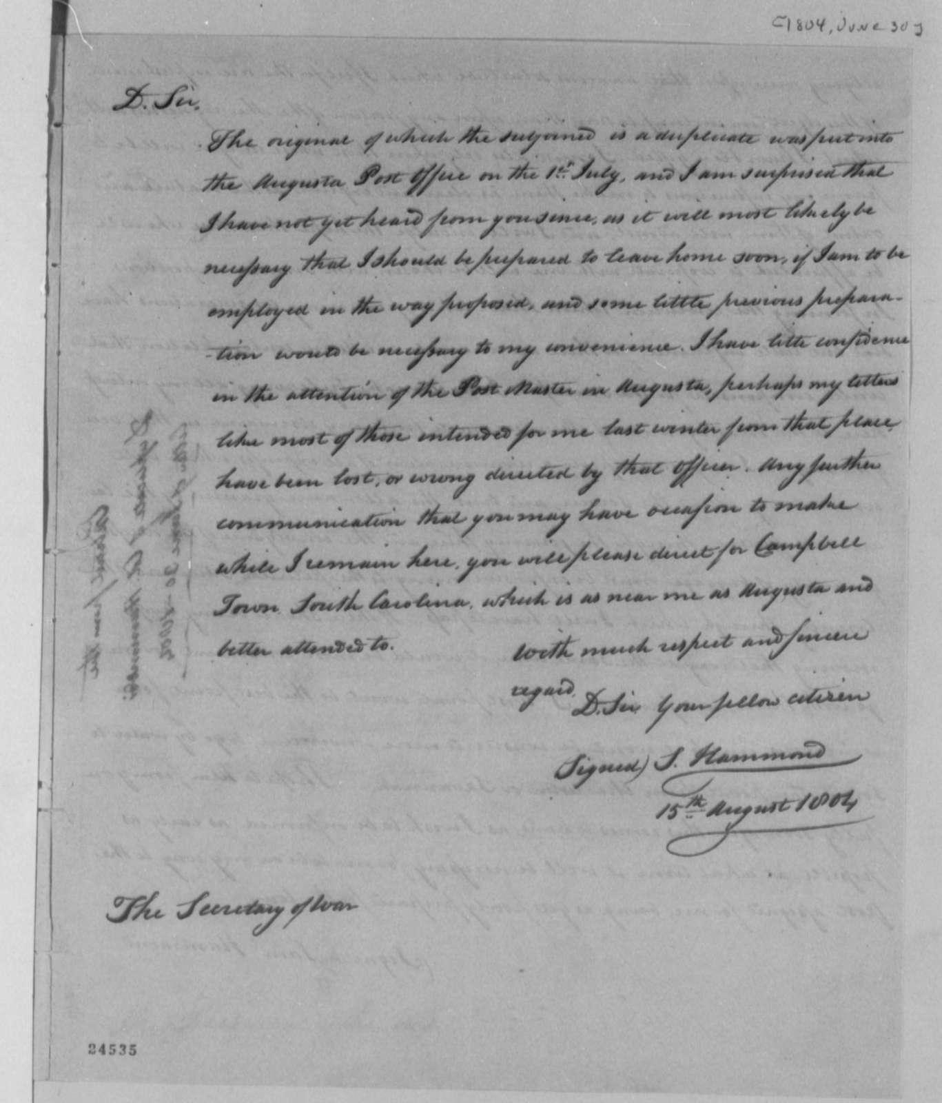 Samuel Hammond to Henry Dearborn, August 15, 1804