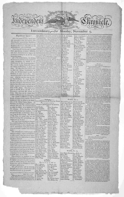 The Independent Chronicle. Extraordinary, --- for Monday, November 5 1804. [Boston, 1804].