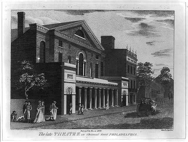 The late theatre in Chestnut Street, Philadelphia. Destroy'd by Fire in 1820