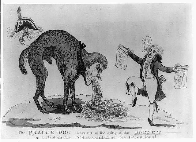 The prairie dog sickened at the sting of the hornet or a diplomatic puppet exhibiting his deceptions / J[ames] Akin, fect.