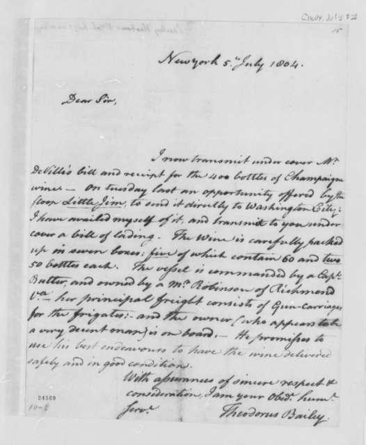 Theodorus Bailey to Thomas Jefferson, July 5, 1804