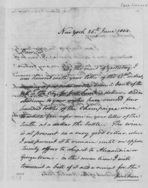 Theodorus Bailey to Thomas Jefferson, June 26, 1804