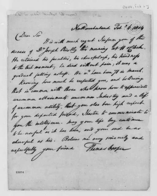 Thomas Cooper to Thomas Jefferson, February 6, 1804