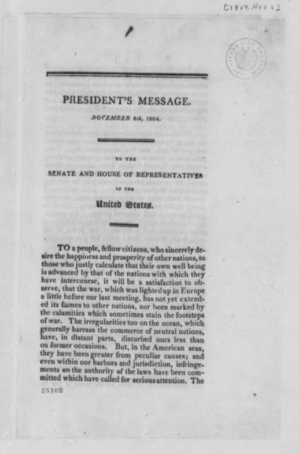 Thomas Jefferson, November 8, 1804, Annual Message, Draft and Printed Copy