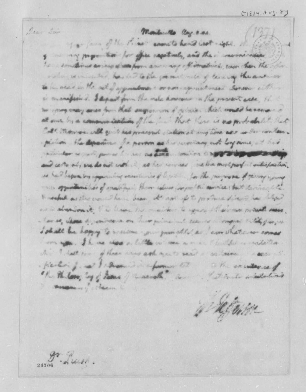 Thomas Jefferson to Benjamin Rush, August 8, 1804