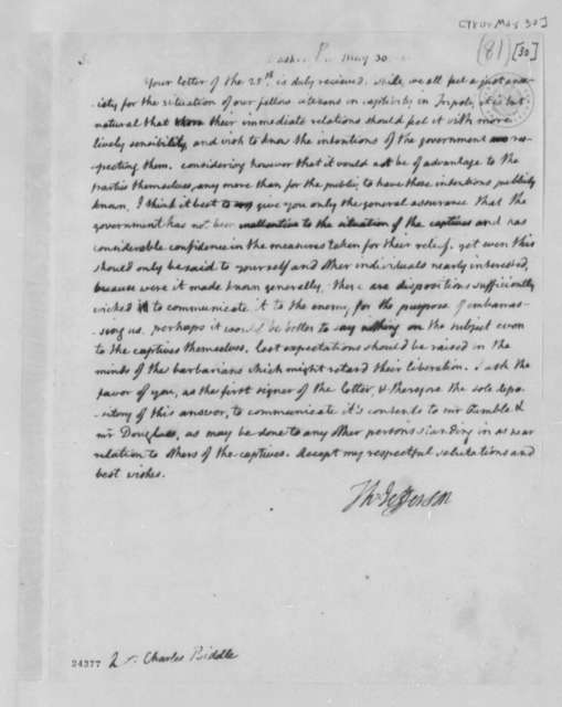 Thomas Jefferson to Charles Biddle, May 30, 1804