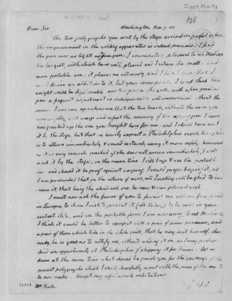 Thomas Jefferson to Charles Willson Peale, November 7, 1804