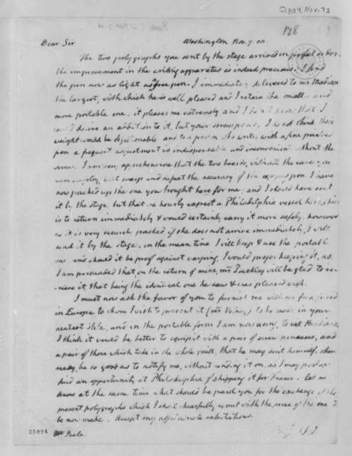 Thomas Jefferson to Charles Willson Peale, November 7, 1804