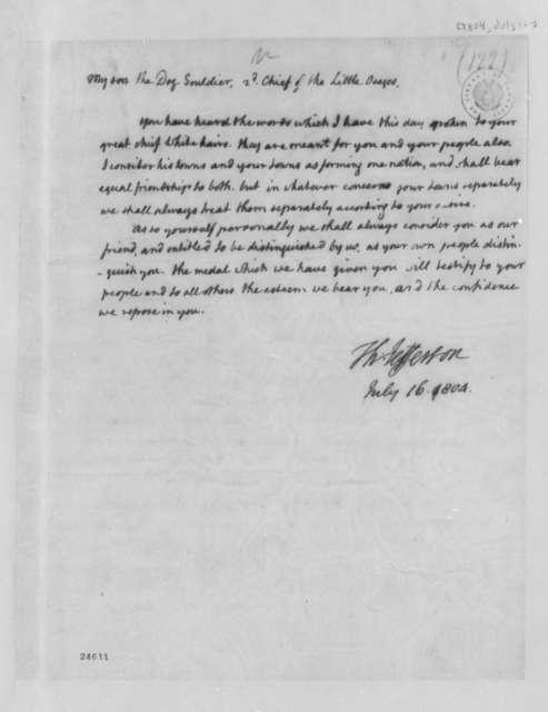Thomas Jefferson to Chief Dog Soldier, July 16, 1804, Address of Friendship