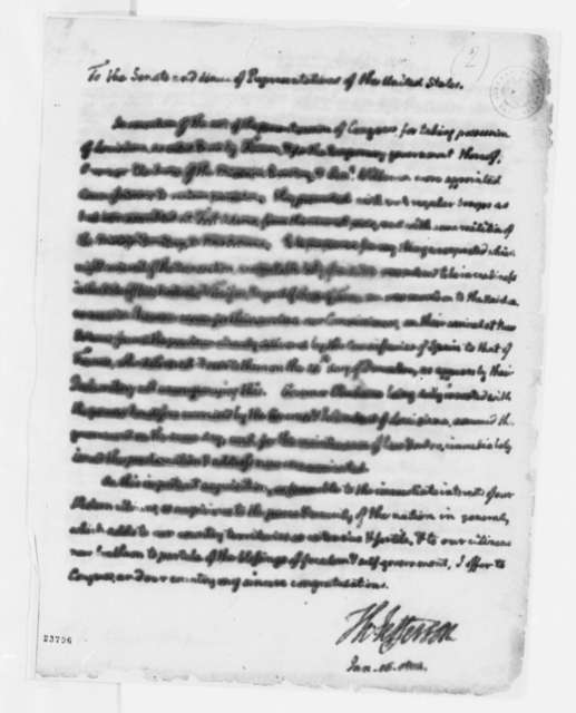 Thomas Jefferson to Congress, January 16, 1804, with Typed Copy