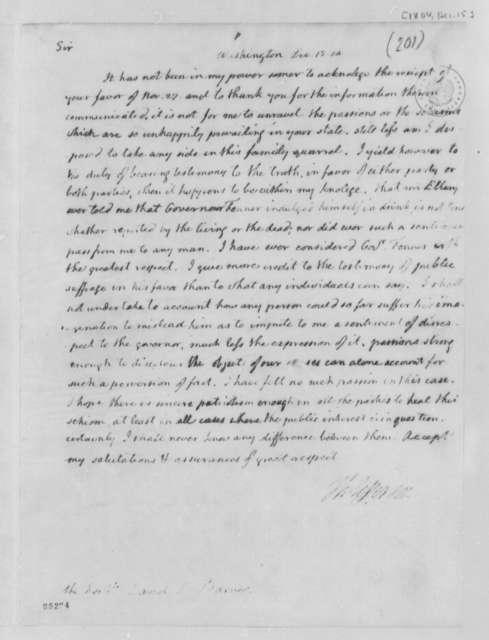 Thomas Jefferson to David Leonard Barnes, December 15, 1804