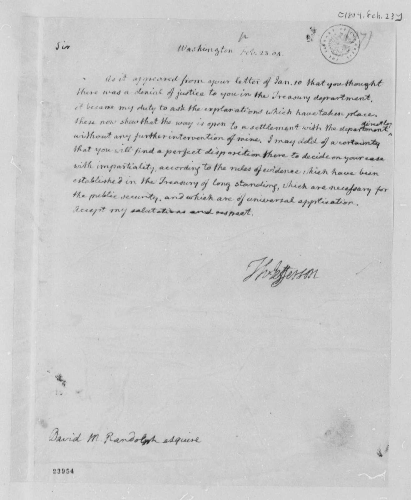 Thomas Jefferson to David Meade Randolph, February 23, 1804