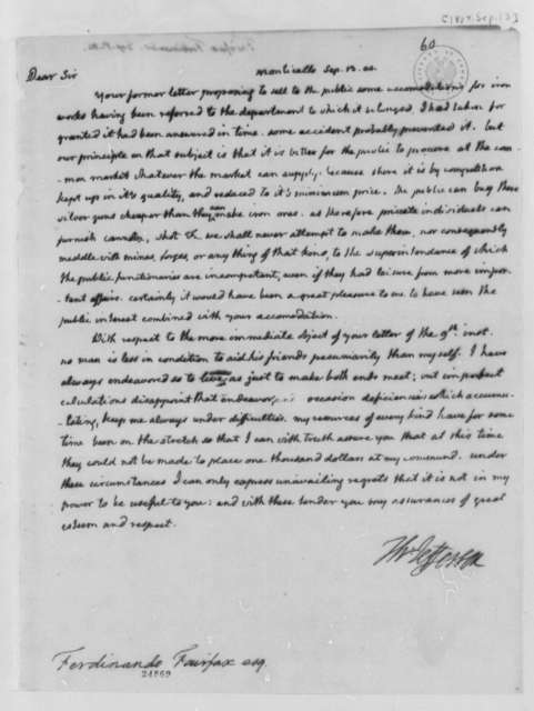 Thomas Jefferson to Ferdinando Fairfax, September 13, 1804