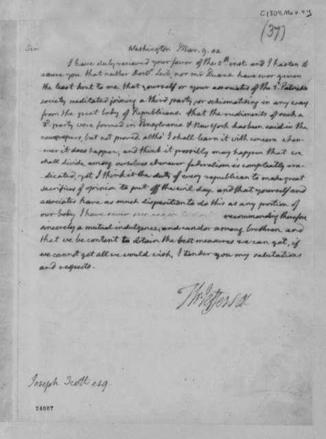 Thomas Jefferson to Joseph Scott, March 9, 1804